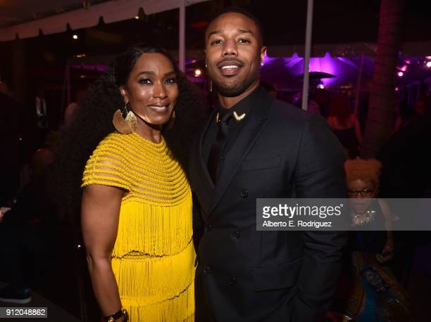 Actors Angela Bassett and Michael B Jordan at the Los Angeles World Premiere of Marvel Studios' BLACK PANTHER at Dolby Theatre on January 29 2018 in...