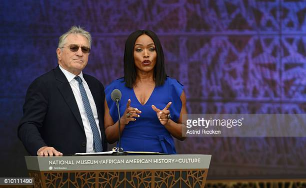 Actors Angela Bassett and Robert DeNiro speak during the dedication of the National Museum of African American History and Culture September 24 2016...