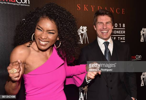 "Actors Angela Bassett and Tom Cruise attend the 2018 Will Rogers ""Pioneer of the Year"" Dinner Honoring Tom Cruise at Caesars Palace during CinemaCon..."