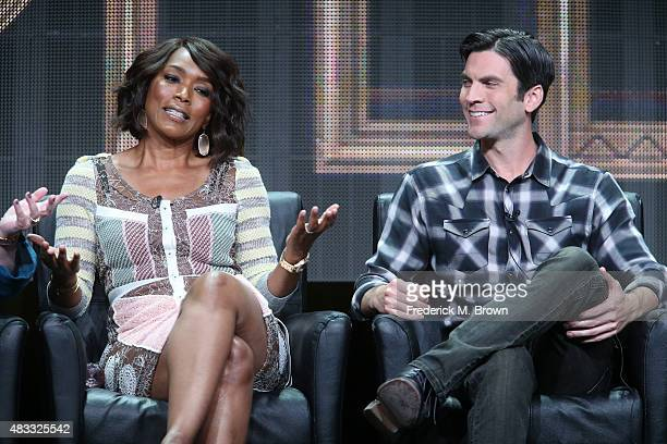 Actors Angela Bassett and Wes Bentley speak onstage during the 'AHS Hotel' panel discussion at the FX portion of the 2015 Summer TCA Tour at The...
