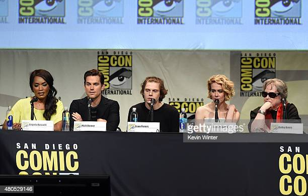 Actors Angela Bassett Matt Bomer Evan Peters Sarah Paulson and Kathy Bates speak onstage at the 'American Horror Story' and 'Scream Queens' panel...