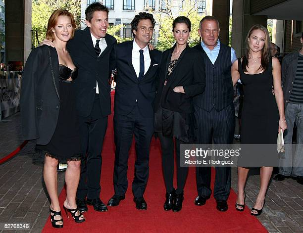 Actors Angela Featherstone Ethan Hawke Mark Ruffalo Amanda Peet director Brian Goodman and Lindsey McKeon arrives at 'What Doesn't Kill You' premiere...