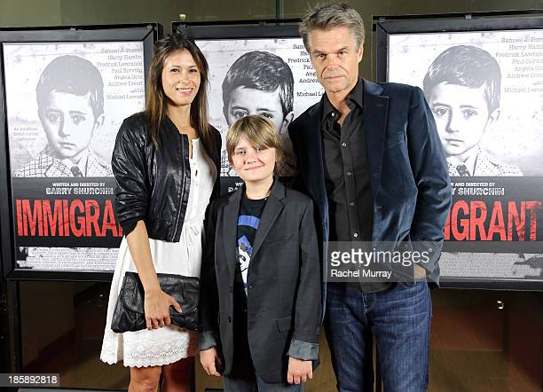 Actors Angela Gots Jake Elliott and Harry Hamlin attend the 'Immigrant' Film Premiere at Laemmle's Music Hall 3 on October 25 2013 in Beverly Hills...