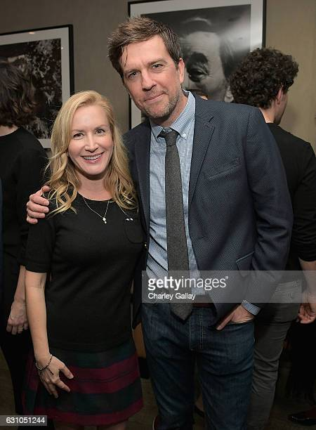 Actors Angela Kinsey and Ed Helms attend a reception to honor ZOOTOPIA screenwriters Jared Bush and Phil Johnston at Cavatina at Sunset Marquis Hotel...