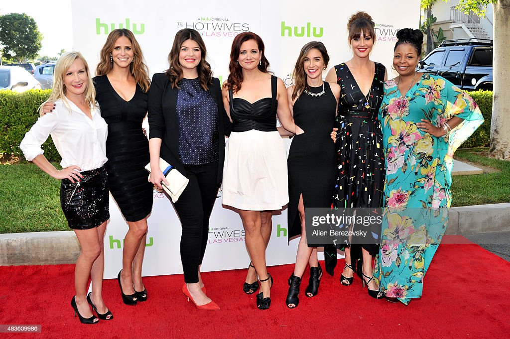 Actors Angela Kinsey, Andrea Savage, Casey Wilson, Dannah Phirman, Danielle Schneider, Erinn Hayes and Tymberlee Hill attend the screening of Hulu and Paramount Digital Entertainment's 'The Hotwives Of Las Vegas' at Sherry Lansing Theatre at Paramount Studios on August 10, 2015 in Los Angeles, California.