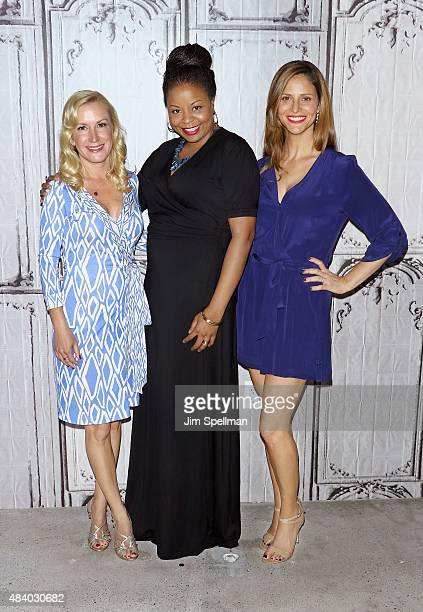 Actors Angela Kinsey Tymberlee Hill and Andrea Savage attend AOL Build Presents 'The Hotwives Of Las Vegas' at AOL Studios In New York on August 14...