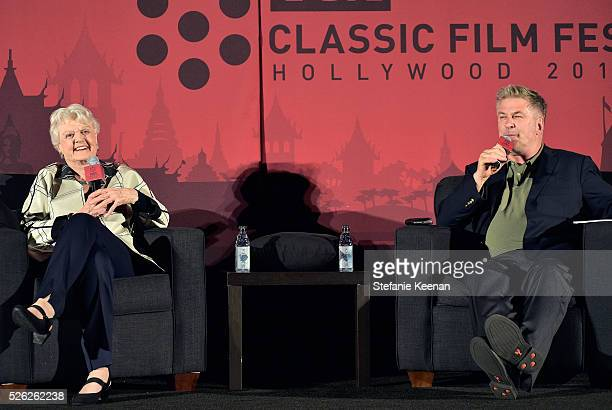 Actors Angela Lansbury and Alec Baldwin speak onstage at 'The Manchurian Candidate' during day 2 of the TCM Classic Film Festival 2016 on April 29...