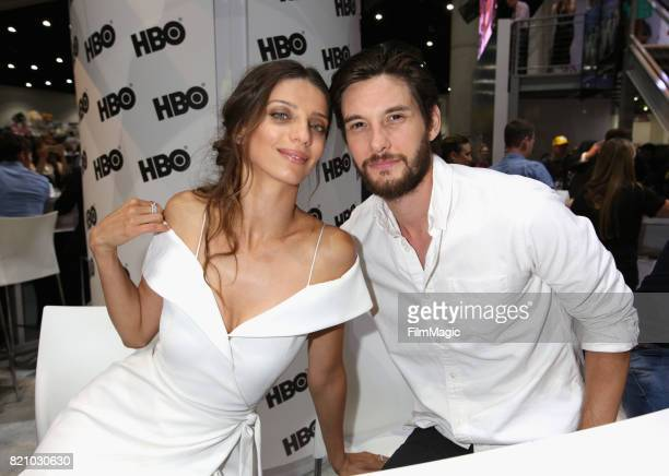 Actors Angela Sarafyan and Ben Barnes attend the 'Westworld' signing during San Diego ComicCon 2017 at San Diego Convention Center on July 22 2017 in...