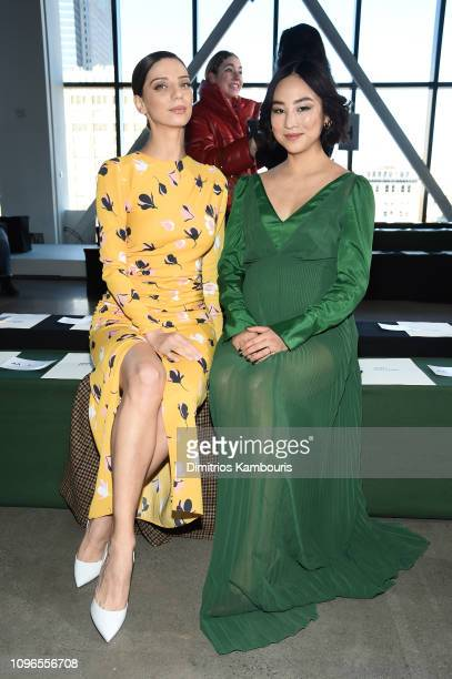 Actors Angela Sarafyan and Greta Lee atten the SelfPortrait front row during New York Fashion Week The Shows at Gallery I at Spring Studios on...