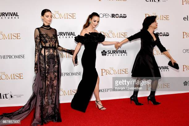Actors Angela Sarafyan Charlotte Le Bon and Shohreh Aghdashloo attend the premiere of Open Road Films' The Promise at TCL Chinese Theatre on April 12...