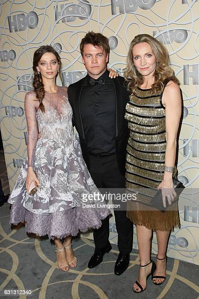 Actors Angela Sarafyan, Luke Hemsworth and Samantha Hemsworth arrive at HBO's Official Golden Globe Awards after party at the Circa 55 Restaurant on...