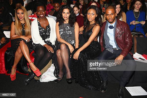 Actors Angela Simmons Adepero Oduye Sarita Choudhury Tashiana Washington and Eric West attend the Vivienne Tam fashion show with TRESemme during...