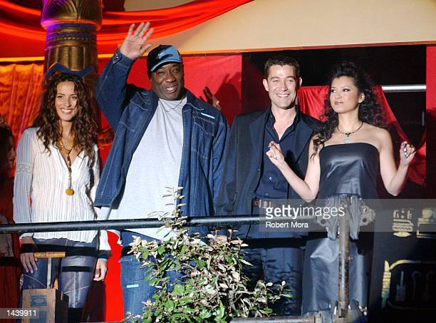 Actors Angelica Castro Michael Clarke Duncan Steven Brand Kelly Hu attend Universal Studio's 'The Scorpion King' DVD VHS Launch Party at Virgin...