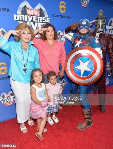 Actors Angelica Maria and Angelica Vale Captain America and StarLord and young guests attend the world premiere of Marvel Universe Live Age Of Heroes...