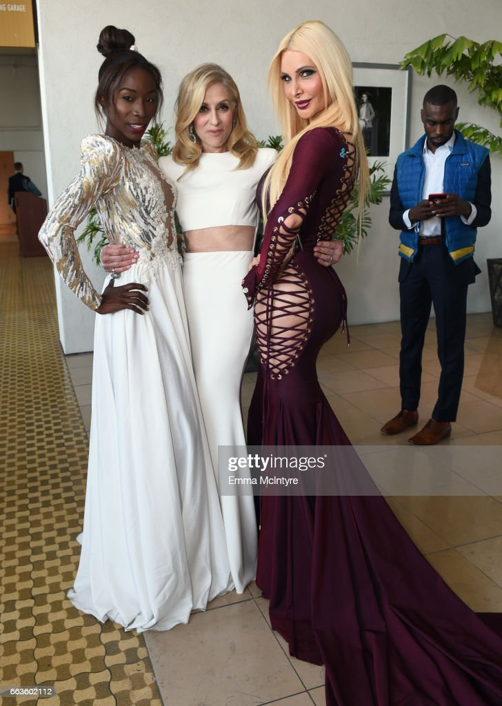 Actors Angelica Ross, Judith Light and Cassandra Cass attend the 28th Annual GLAAD Media Awards in LA at The Beverly Hilton Hotel on April 1, 2017 in Beverly Hills, California.