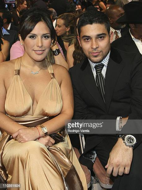 Actors Angelica Vale and Wilmer Valderrama backstage during the 8th Annual Latin GRAMMY Awards at Mandalay Bay on November 8 2007 in Las Vegas Nevada