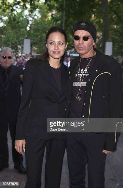 Actors Angelina Jolie and Billy Bob Thornton attends the premiere of Tomb Raider on July 03 2001 at the Empire in Leicester Sq London