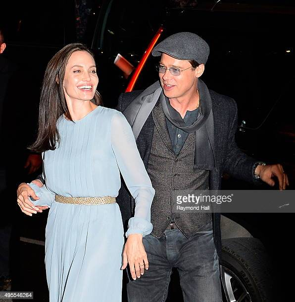 Actors Angelina Jolie and Brad Pitt are seen arriving at City Cinemas in Midtown on November 3 2015 in New York City