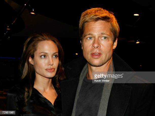 Actors Angelina Jolie and Brad Pitt arrive at Newmarket Films premiere of 'God Grew Tired of Us' at the Pacific Design Center on January 8 2007 in...