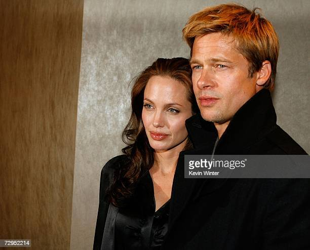 "Actors Angelina Jolie and Brad Pitt arrive at Newmarket Films premiere of ""God Grew Tired of Us"" at the Pacific Design Center on January 8, 2007 in..."