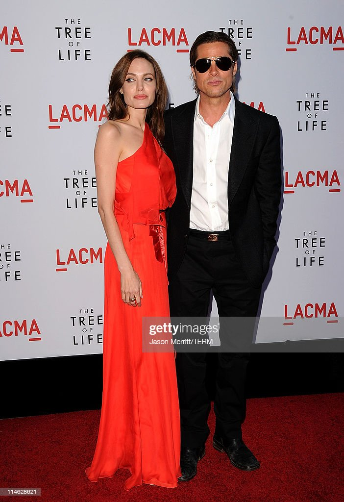 Actors Angelina Jolie and Brad Pitt arrive at premiere of Fox Searchlight Pictures' 'The Tree of Life' at Bing Theatre at the Los Angeles County Museum of Art on May 24, 2011 in Los Angeles, California.