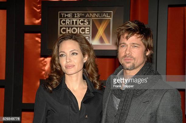Actors Angelina Jolie and Brad Pitt arrive at the 13th Annual Critics' Choice Awards held at the Santa Monica Civic Auditorium