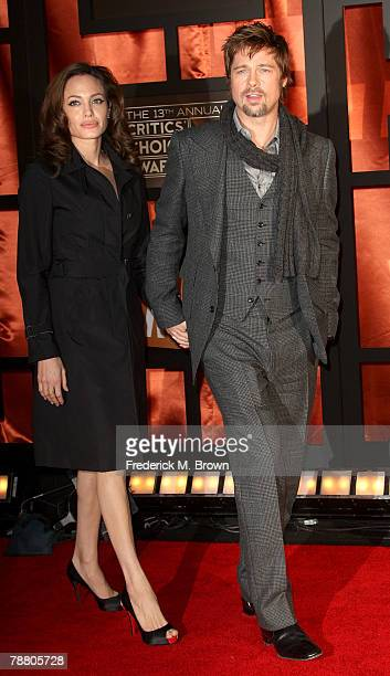 Actors Angelina Jolie and Brad Pitt arrive at the 13th annual Critics' Choice Awards held at the Santa Monica Civic Auditorium on January 7 2008 in...