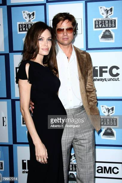 Actors Angelina Jolie and Brad Pitt arrive at the 2008 Film Independent's Spirit Awards held at Santa Monica Beach on February 23 2008 in Santa...