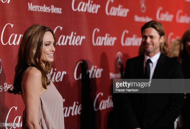Actors Angelina Jolie and Brad Pitt arrive at the 2012 Palm Springs International Film Festival Awards Gala at Palm Springs Convention Center on...