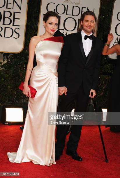 Actors Angelina Jolie and Brad Pitt arrive at the 69th Annual Golden Globe Awards held at the Beverly Hilton Hotel on January 15, 2012 in Beverly...