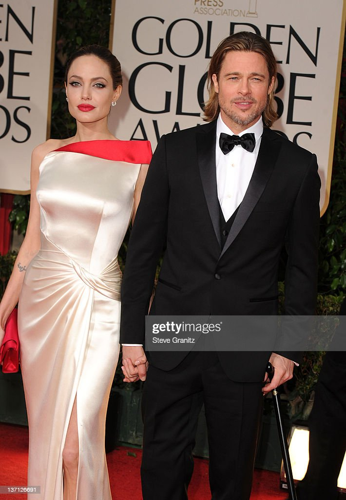 Actors Angelina Jolie and Brad Pitt arrive at the 69th Annual Golden Globe Awards held at the Beverly Hilton Hotel on January 15, 2012 in Beverly Hills, California.