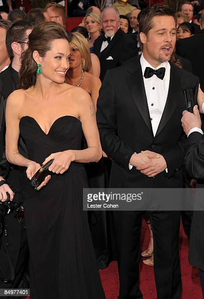 Actors Angelina Jolie and Brad Pitt arrive at the 81st Annual Academy Awards held at The Kodak Theatre on February 22 2009 in Hollywood California