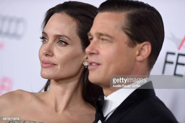 Actors Angelina Jolie and Brad Pitt arrive at the AFI FEST 2015 presented by Audi Opening Night Gala Premiere of Universal Pictures' 'By The Sea' at...