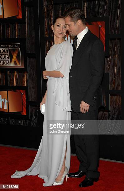 Actors Angelina Jolie and Brad Pitt arrive at VH1's 14th Annual Critics' Choice Awards held at the Santa Monica Civic Auditorium on January 8 2009 in...