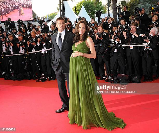 US actors Angelina Jolie and Brad Pitt arrive to attend the screening of US directors John Stevenson and Mark Osborne's film 'Kung Fu Panda' at the...