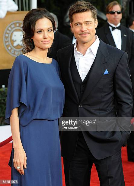 Actors Angelina Jolie and Brad Pitt arrives at the 15th Annual Screen Actors Guild Awards held at the Shrine Auditorium on January 25 2009 in Los...