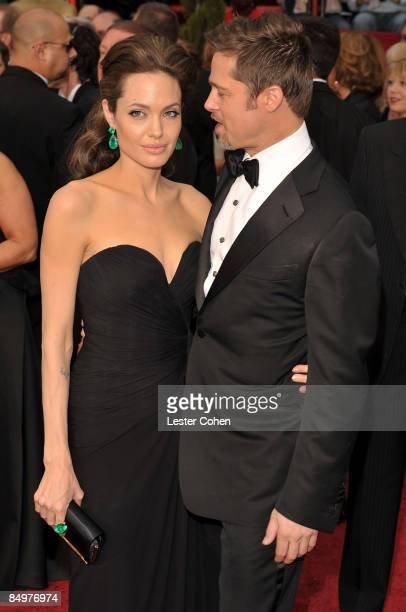 Actors Angelina Jolie and Brad Pitt arrives at the 81st Annual Academy Awards held at The Kodak Theatre on February 22, 2009 in Hollywood, California.