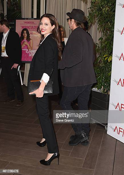 Actors Angelina Jolie and Brad Pitt attend the 15th Annual AFI Awards at Four Seasons Hotel Los Angeles at Beverly Hills on January 9, 2015 in...