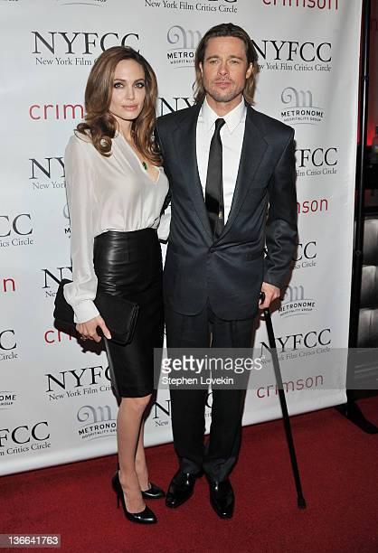 Actors Angelina Jolie and Brad Pitt attend the 2011 New York Film Critics Circle awards at Crimson on January 9 2012 in New York City