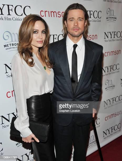 Actors Angelina Jolie and Brad Pitt attend the 2011 New York Film Critics Circle awards at Crimson on January 9, 2012 in New York City.