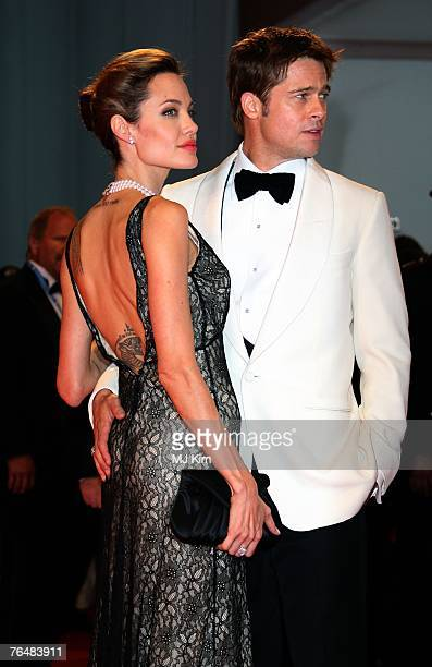 Actors Angelina Jolie and Brad Pitt attend The Assassination Of Jesse James By The Coward Robert Ford premiere in Venice during day 5 of the 64th...