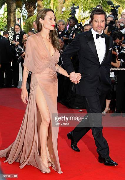 Actors Angelina Jolie and Brad Pitt attend the 'Inglourious Basterds' Premiere at the Grand Theatre Lumiere during the 62nd Annual Cannes Film...