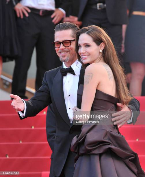 """Actors Angelina Jolie and Brad Pitt attend """"The Tree Of Life"""" Premiere during the 64th Annual Cannes Film Festival at Palais des Festivals on May 16,..."""