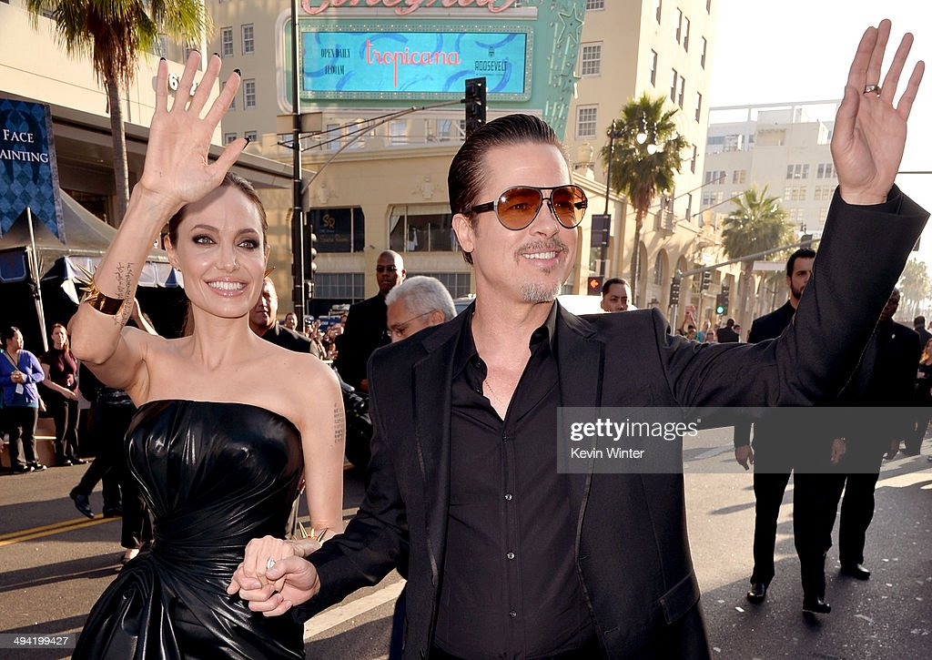 Actors Angelina Jolie (L) and Brad Pitt attend the World Premiere of Disney's 'Maleficent' at the El Capitan Theatre on May 28, 2014 in Hollywood, California.