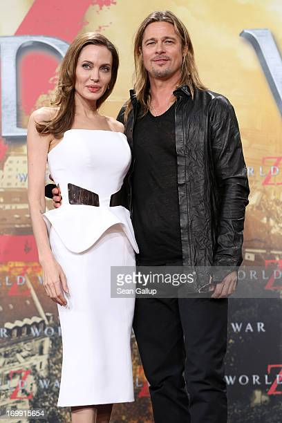 Actors Angelina Jolie and Brad Pitt attend 'WORLD WAR Z' Germany Premiere at Sony Centre on June 4 2013 in Berlin Germany