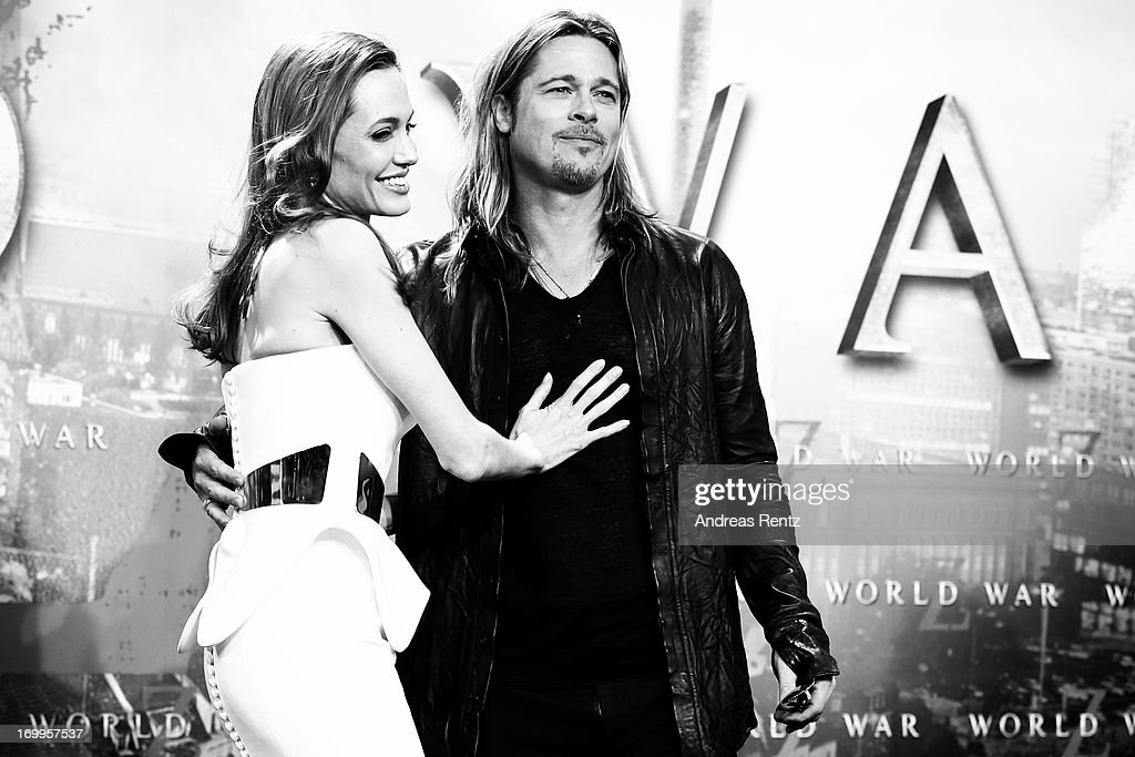 Actors Angelina Jolie and Brad Pitt attend 'WORLD WAR Z' Germany Premiere at Sony Centre on June 4, 2013 in Berlin, Germany.