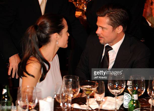 Actors Angelina Jolie and Brad Pitt during VH1's 14th Annual Critics' Choice Awards held at the Santa Monica Civic Auditorium on January 8 2009 in...