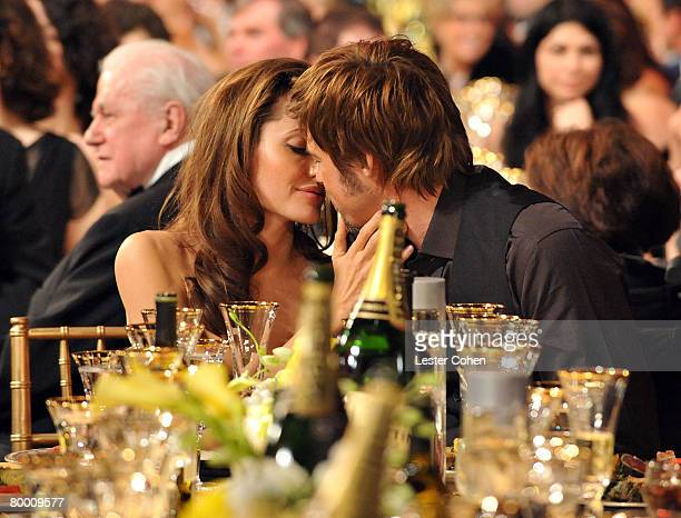 Actors Angelina Jolie and Brad Pitt in the audience at the TNT/TBS broadcast of the 14th Annual Screen Actors Guild Awards at the Shrine Auditorium...