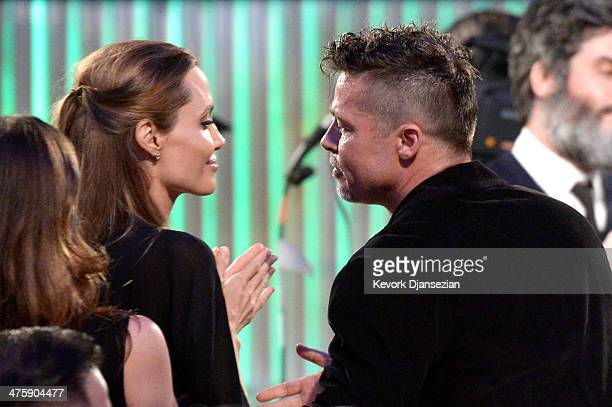 Actors Angelina Jolie and Brad Pitt in the audience during the 2014 Film Independent Spirit Awards at Santa Monica Beach on March 1 2014 in Santa...