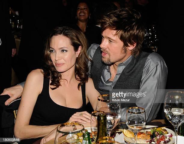 Actors Angelina Jolie and Brad Pitt inside at the 13th ANNUAL CRITICS' CHOICE AWARDS at the Santa Monica Civic Auditorium on January 7 2008 in Santa...